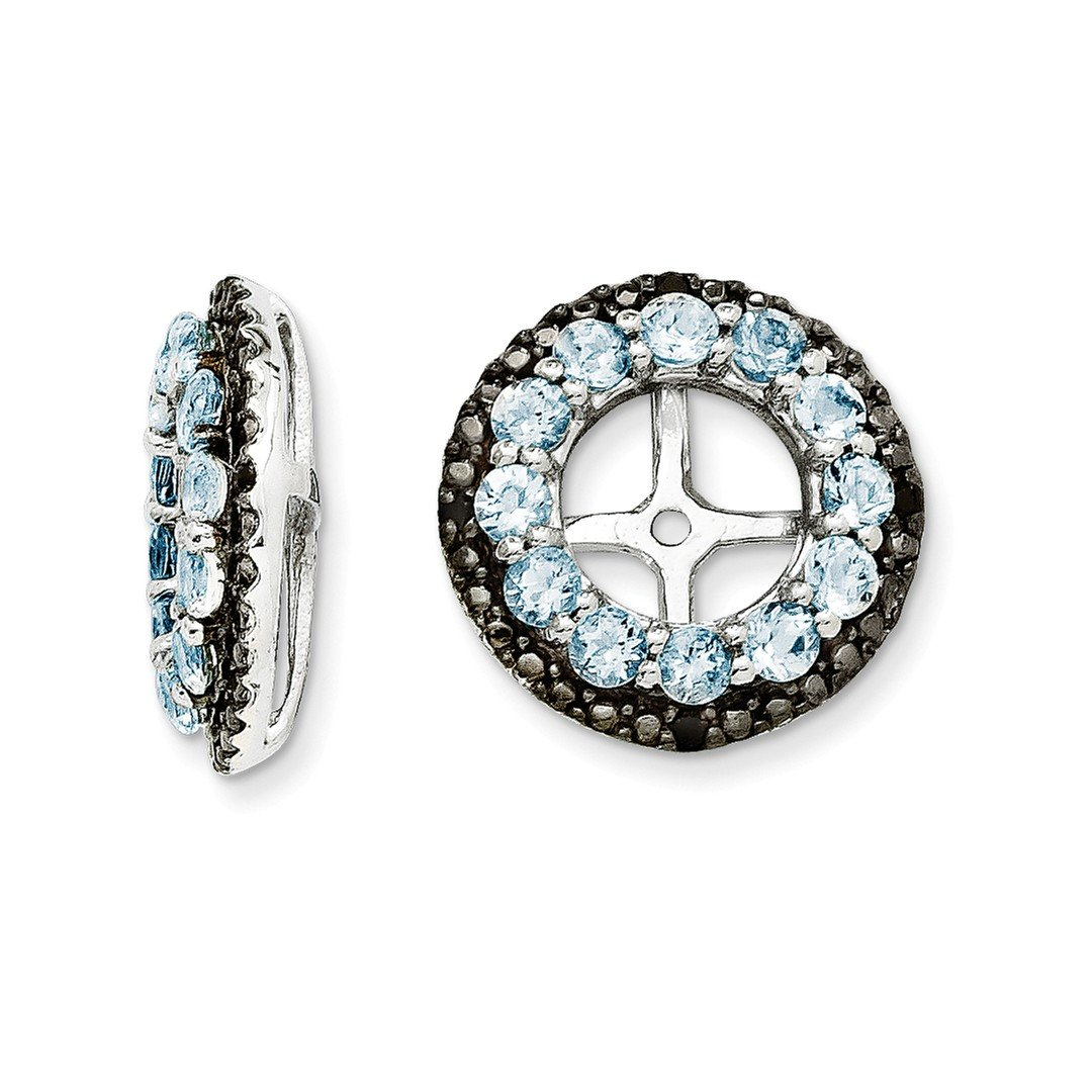 ICE CARATS 925 Sterling Silver Blue Aquamarine Black Sapphire Earrings Jacket Birthstone March Fine Jewelry Gift Set For Women Heart