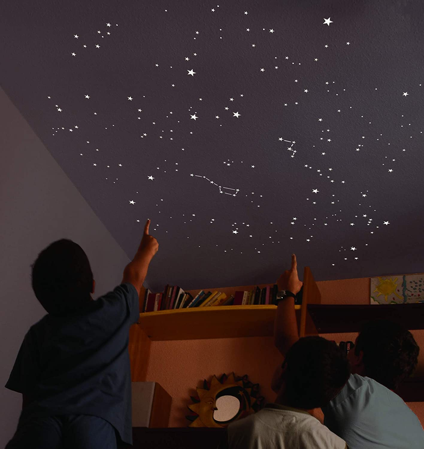 Kit of 270 fluorescent STARS + 23 sqr ft STENCIL. EXACT REPRODUCTION OF THE  NIGHT SKY + MAP with indications. Astronomy on ceiling or wall. ...