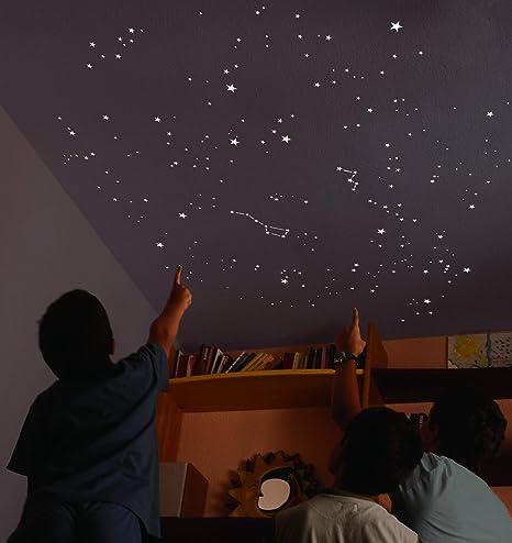 Encambio Alcrea Kit de 540 Estrellas Fluorescentes + Plantilla de 2 m². REPRODUCCIÓN EXACTA del Cielo + Mapa e indicaciones. para 2 techos o Paredes