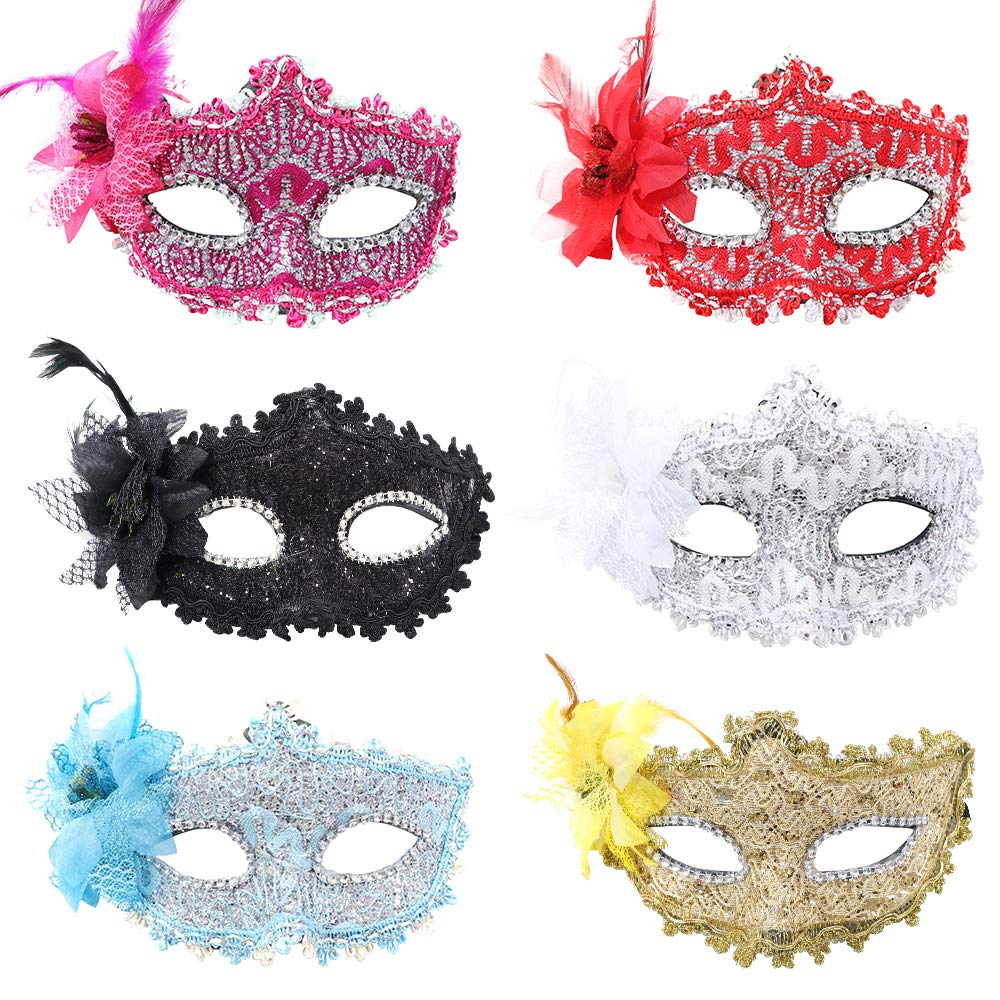 YMHPRIDE Masquerade Mask for Couples Rhinestone Venetian Mask Mardi Gras Mask Lace Masquerade Mask for Women Men Party Prom Ball Halloween Costume Mask Black