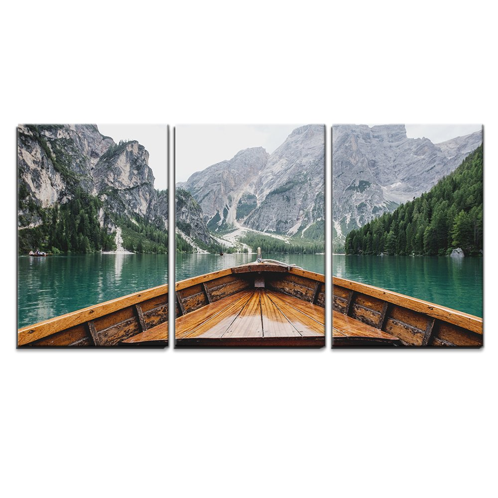 wall26 – 3 Piece Canvas Wall Art – Boat Cruising a Mountain Lake – Modern Home Decor Stretched and Framed Ready to Hang – 24 x36 x3 Panels