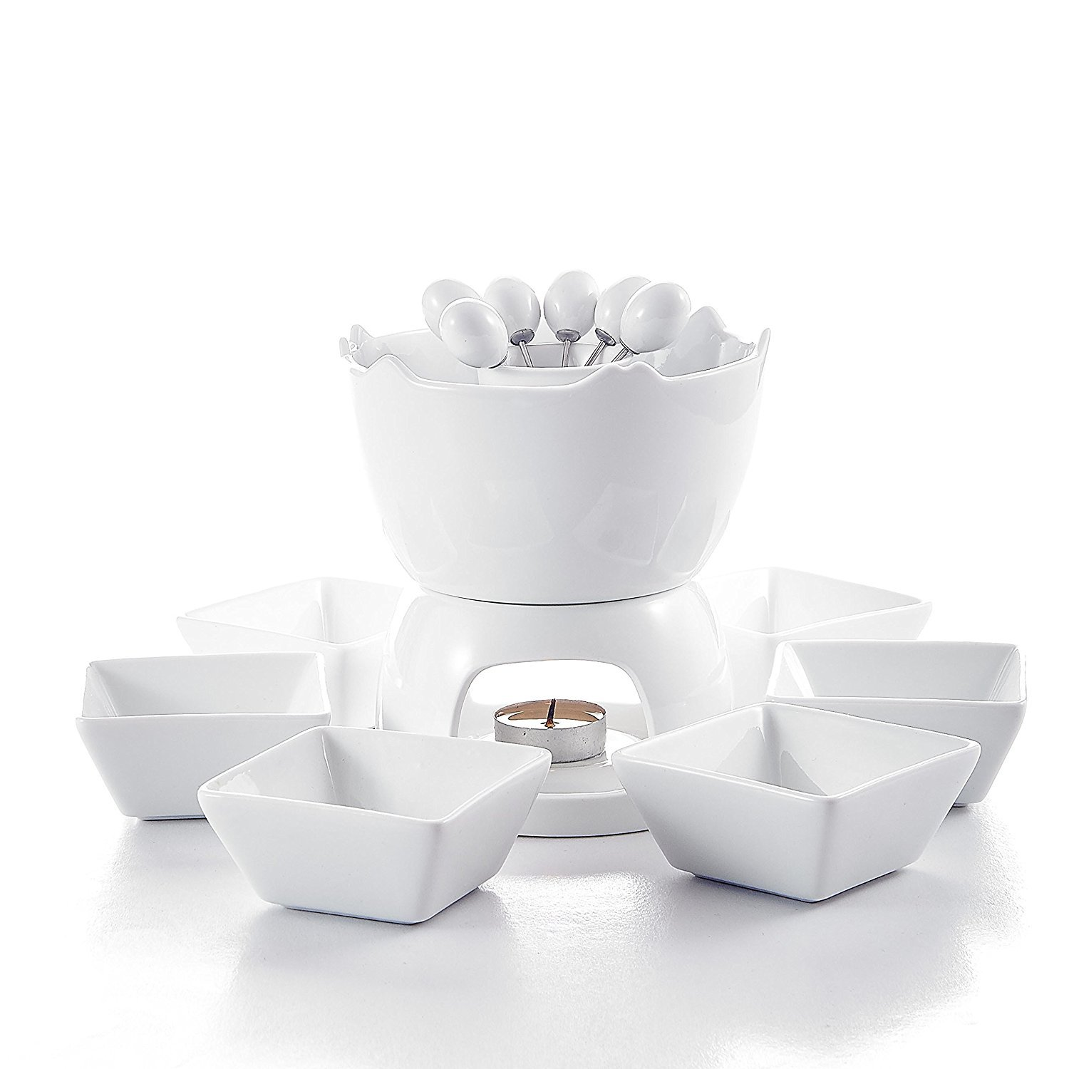 Malacasa Series Favor, Two-layer Ceramic Porcelain Tealight Candle Cheese Butter Chocolate Fondue Set with 6 Dipping Bowls 6 Forks, Ivory White