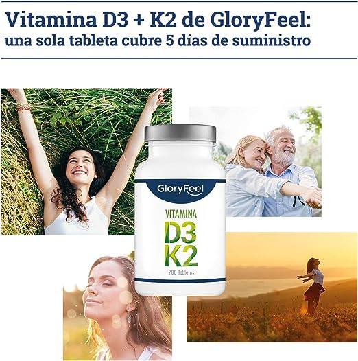 GloryFeel® Vitamina D3 + K2 - Bote con 200 tabletas - 5.000 UI de ...