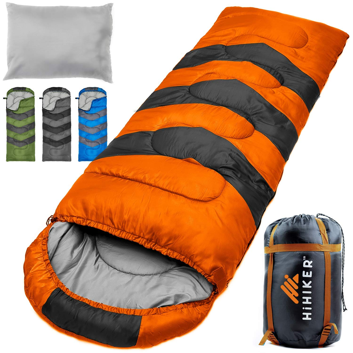 HiHiker Camping Sleeping Bag + Travel Pillow w/Compact Compression Sack - 4 Season Sleeping Bag for Adults & Kids - Lightweight Warm and Washable, for Hiking Traveling. (Orange) by HiHiker