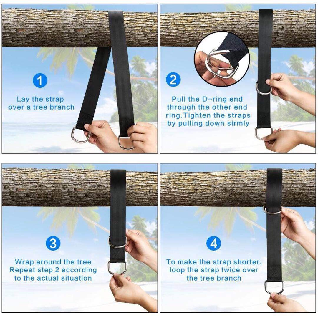 Tree Swing Straps 10ft(Two 5ft) Adjustable swingStraps Hold 2000lbs and Two Heavy Duty Carabiners zhuopin Tree Swing Straps Hanging Kit Black