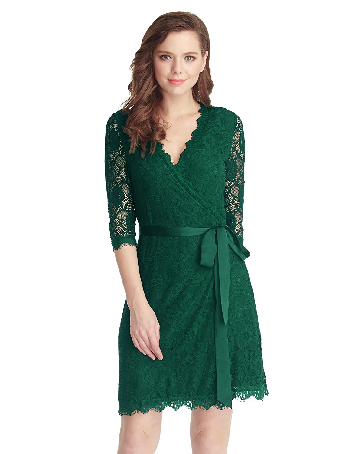 Into your fashion game with amazing party dresses cocktail dresses day - Amazon Com Grapent Women S Lace 3 4 Sleeves Midi Business Cocktail Short Formal Wrap Dress Clothing