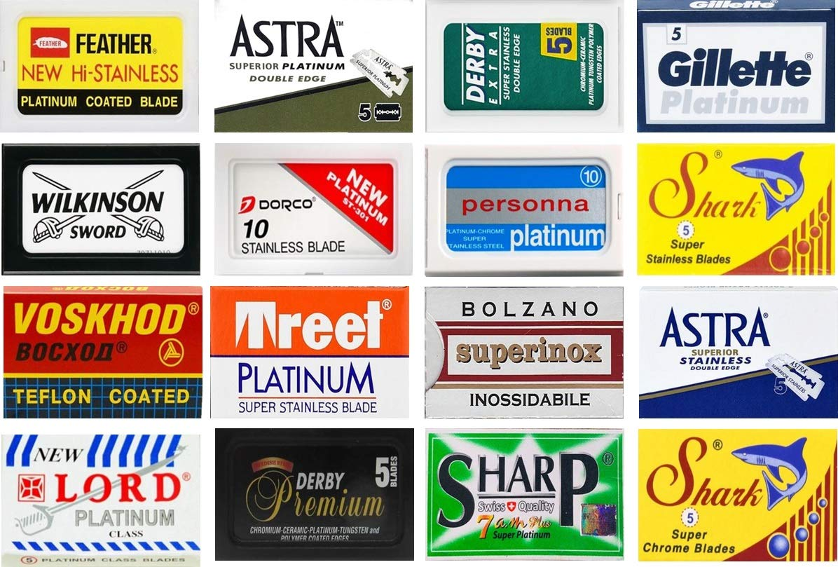 100 Excellent Quality Double Edge Razor Blades Sampler (16 different brands)