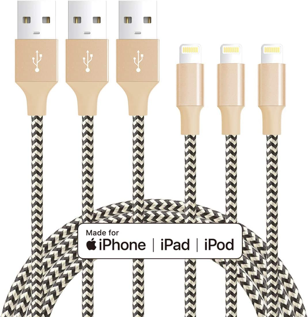 MFi Certified iPhone Cable - Novtech 3Pack 6FT Nylon Braided Lightning Cable - Long USB Charging Cord for iPhone 11 Pro XR Xs Max X 8 Plus 7 Plus 6S Plus 6 Plus 5S 5C 5 SE iPod iPad Air Pro - Gold