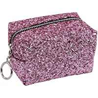 1PCS Mini Sequin Makeup Bag Pouch Purse Handbag Organizer with Zipper,Toiletry/Travel Bag for Jewelry Accessories Collection (Pink)