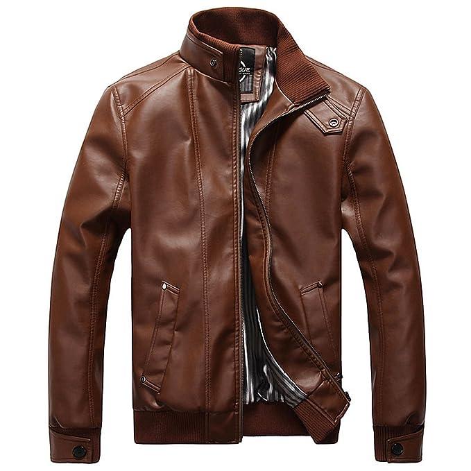 Para Hombre Traje de Chaqueta Otoño Invierno Abrigos de Piel Sintética Motorista de motocicleta Moto estilo Outwear (Marrón, 3XL): Amazon.es: Ropa y ...