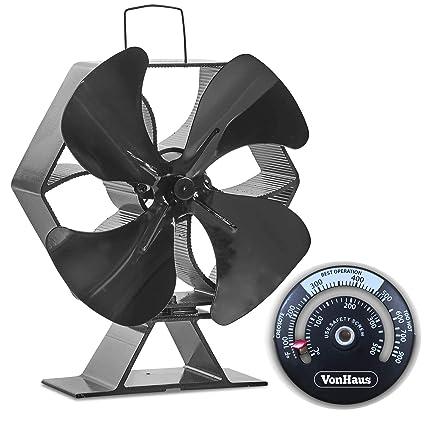 VonHaus - Ventilador para estufa, 4 aspas, tamaño XL, termoeléctrico, funciona con calor, respetuoso con el medio ...
