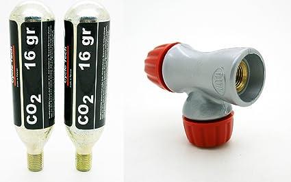 Adaptador de Cartucho Inflador Reversible Bomba CO2 Valvula Presta ...