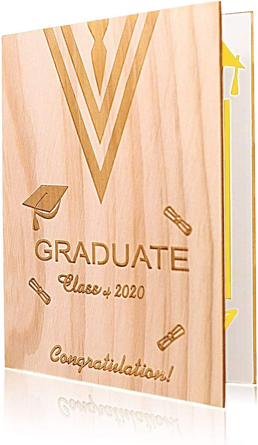 Class of 2020 Graduation Card Nature Pine Wooden Blank Congratulation Greeting Card for New Graduates with Envelope(Clearance-small bug)