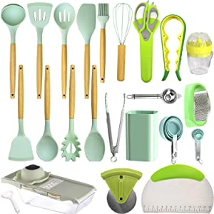 Silicone Kitchen Utensils 37 PCS Cooking Utensils Sets with Holder, Nuloofen Wooden Handle Cooking Tool sets Mint Green Kitchen Gadgets Tools Set for Nonstick Cookware BPA Free Kitchen Tools Gift