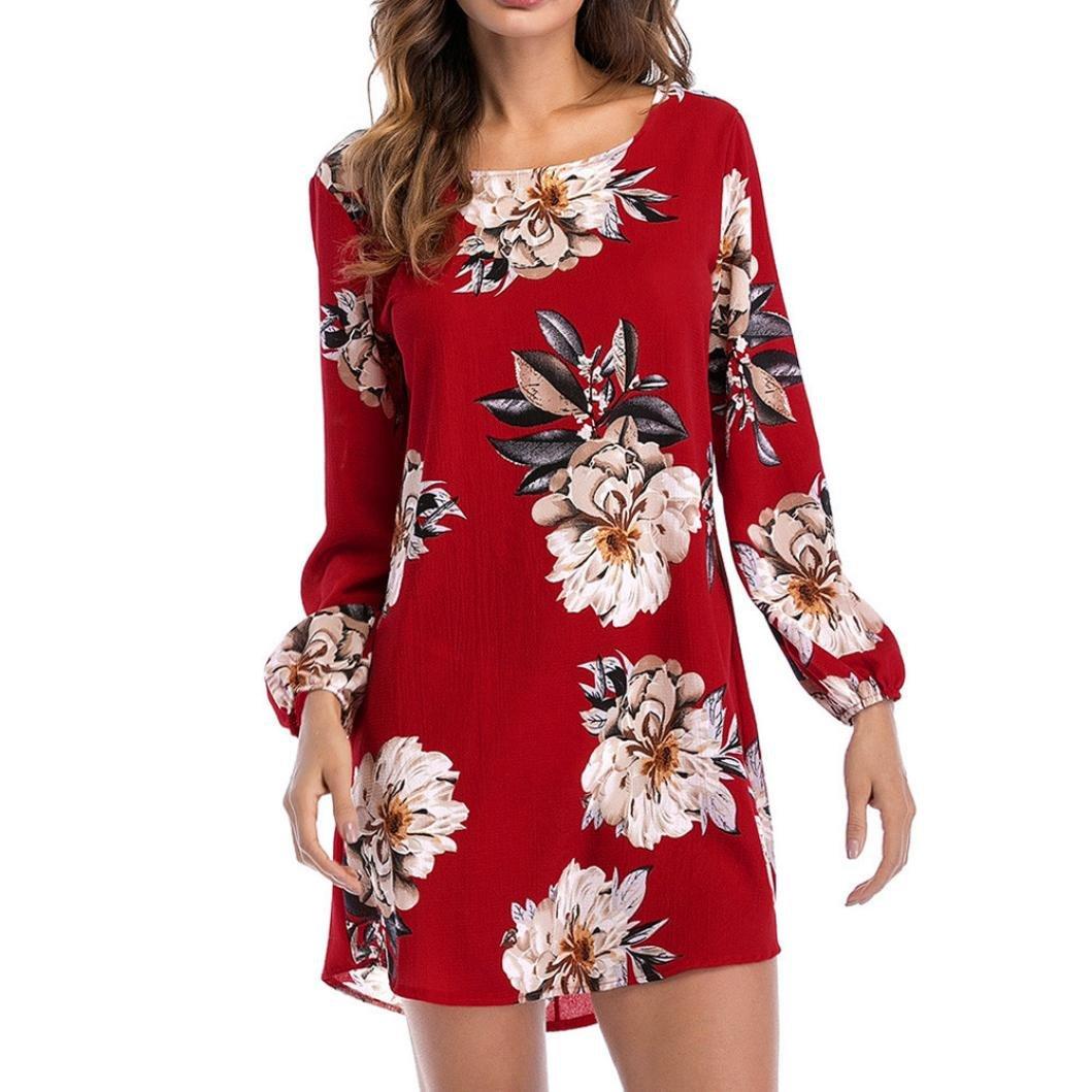 OHQ Frauen Dress Sommerkleider Vintage Boho Mini Ä rmelloses Beilä ufiges Strandkleid Blumenkleid Abendkleid Floralen Druck Minikleid Partykleid Cocktailkleid