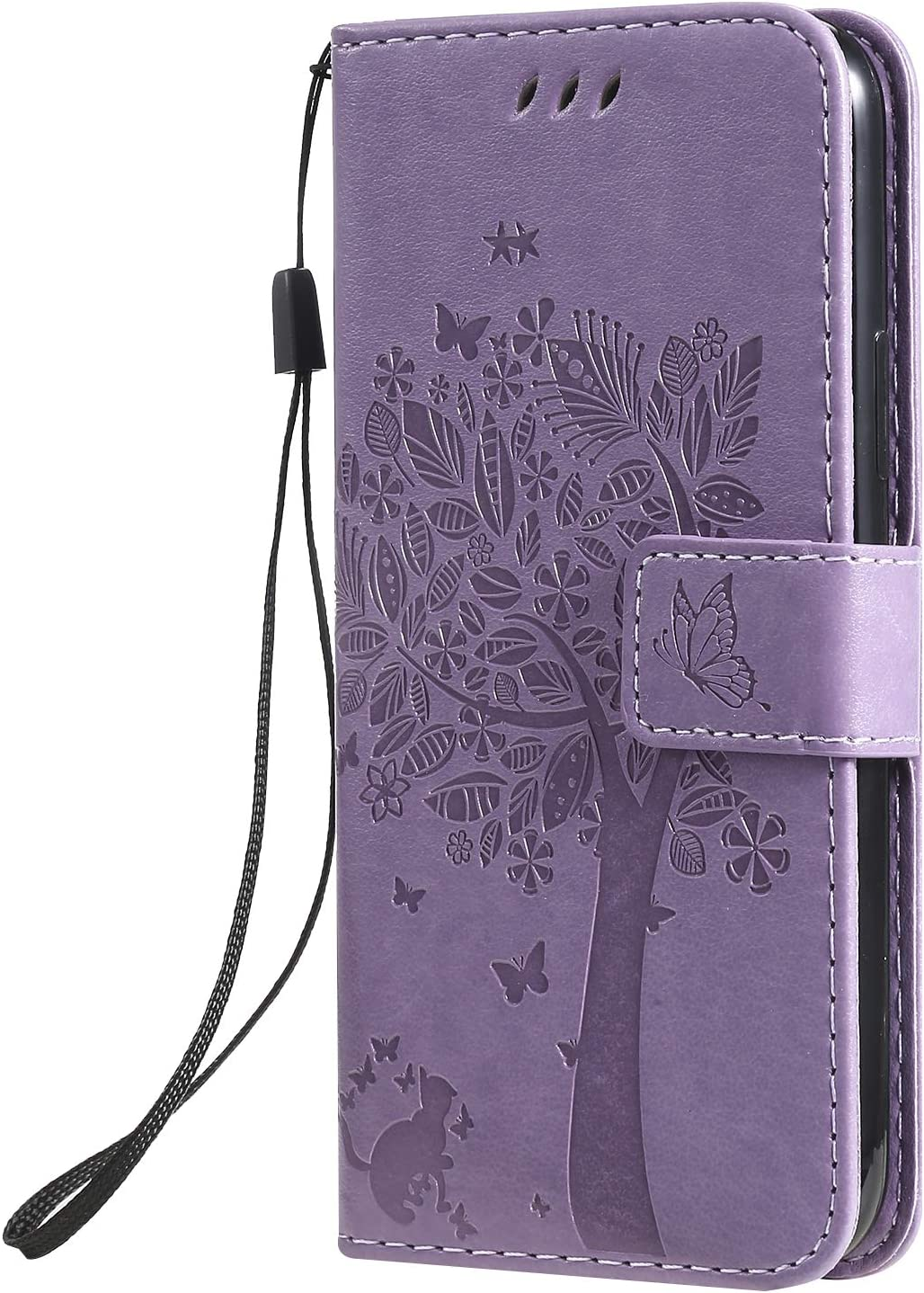 2019 Case,SKYMARS Cat Tree Embossed PU Leather Flip Kickstand Cards Slot Cash Pockets Wallet Magnetic Closure Book Style Case for iPhone 11 Pro 5.8 inch iPhone 11 Pro 5.8 inch 2019 Cat Tree Grey
