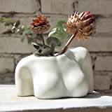 FROZZUR Potted Body Flower Vase, Female Base Roots Plant Artificial Faux Pots with Drainage Holes, Modern Design Boho Form Ac