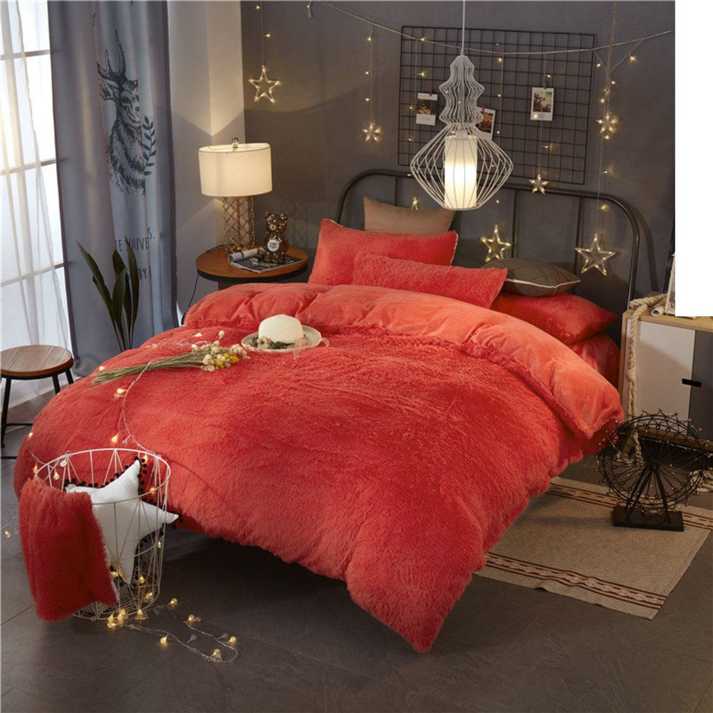 Double fleece bedding Thick warm four sets of-red diameter180cm(71inch)