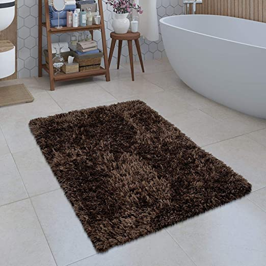 Bathroom Rug Deep Pile Bath Mat Modern Snug Soft Plain Grey