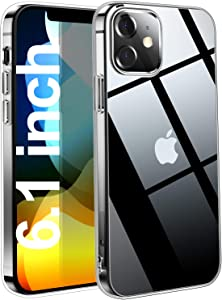 THREEBEES Compatible with iPhone 12 Case/iPhone 12 Pro Case Clear Slim Fit Thin Soft Cover with Premium Flexible Bumper Protective Phone Cases for iPhone 12/12 Pro, 6.1 inch 5G – Crystal Clear