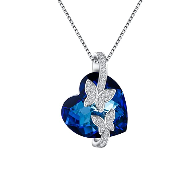 Collar de cristal de Swarovski con forma de corazon y mariposas de plata para Novia - Collar con forma de corazón.