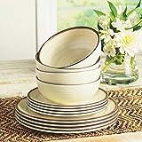 Melamine Dinnerware 12 Piece Set - Cream Color