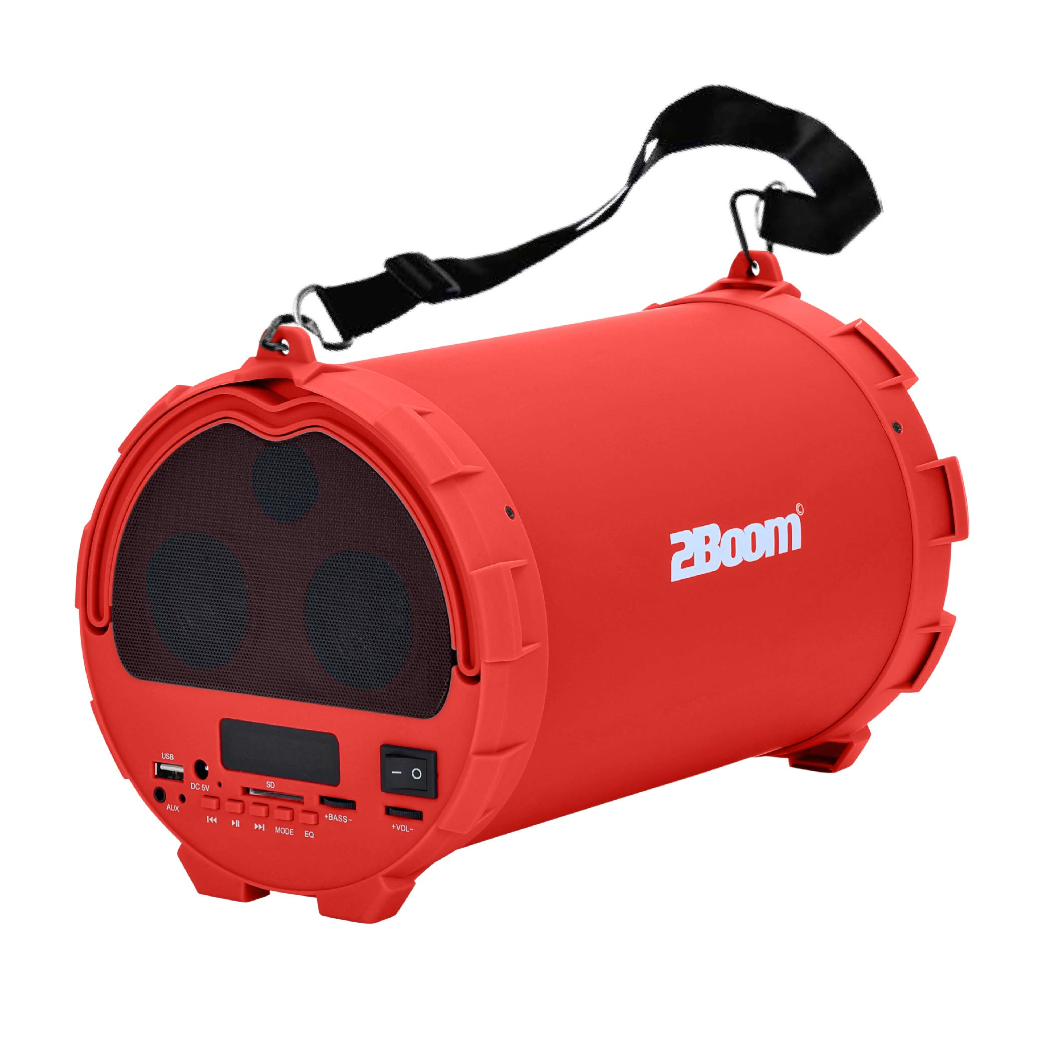 2BOOM Bass King Wireless Bluetooth Portable Outdoor Speaker with FM Radio  LED Display - Red