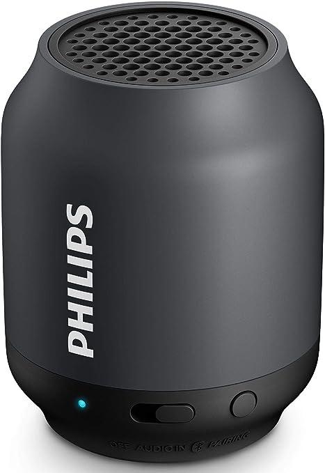 Philips BT50 - Altavoz portátil con Bluetooth (2 Watt, diseño compacto, batería recargable integrada), negro y gris