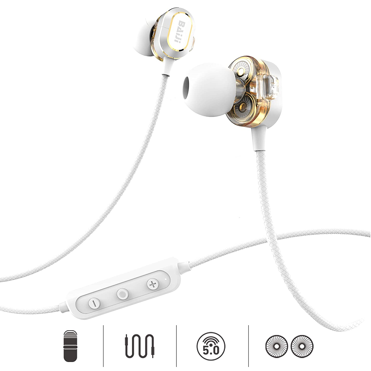 14 Hours Dual Dynamic Drives BAIJI Bluetooth Headphones Full Frequency HiFi Stereo Wireless Magnetic Earbuds Sport with Fixed Clip & Non-Slip Cable with Clear Mic, Comfortable & Fast Pairing (Silver)