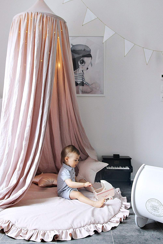 Grau Premewish Baby Baldachin Betthimmel Kinder Babys Bett Baumwolle H/ängende Moskiton f/ür Schlafzimmer Ankleidezimmer Spiel Lesen Zeit H/öhe 240 cm Sauml/änge 280 cm