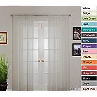 NIM Textile Elegant Sheer Voile Curtains Panels, Rod Pocket Top, Love Inn Collection