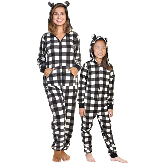 3c10b1c4a18 Angelina Women's & Kid's Fleece Novelty One-Piece Hooded Pajamas