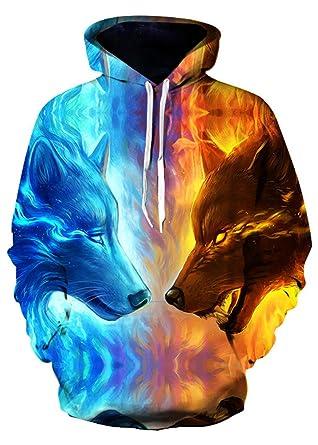 ALICECOCO Herren/Damen Unisex 3D Druck Galaxy Wolf Kapuzenpullover Tops  Fashion Hoodie Pullover Sweatshirt (