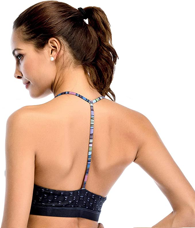 Chisportate Womens Strappy Sports Bra Removable Padded Bra Comfort Yoga Bra Tops Activewear for Workout Running Fitness