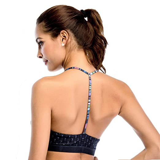 209919b388 Chisportate Women's Strappy Sports Bra Removable Padded Bra Comfort Yoga  Bra Tops Activewear for Workout Running