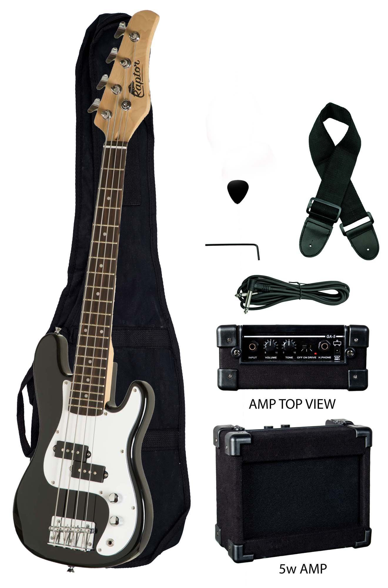 3/4 Size 38'' Junior Kids Black Electric Precision Bass Guitar & Amp Starter Pack, with Gig Bag, Strap, Cable, String, & DirectlyCheap(TM) Translucent Blue Medium Pick