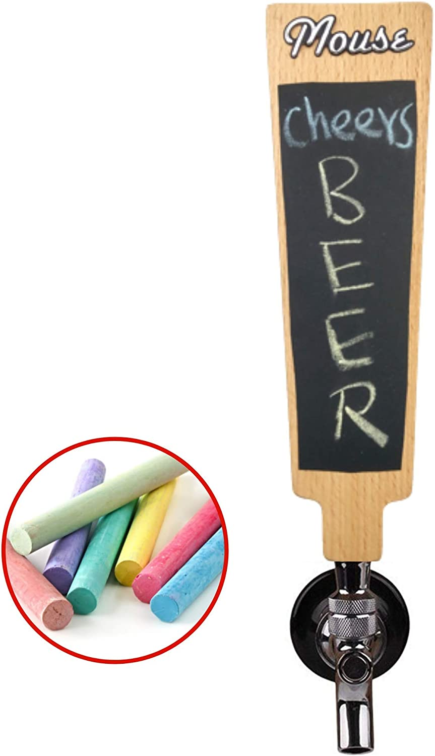 7.9 Tall Chalk Set Included Universal Connection for Homebrewers and Busy Commercial Bars Red Oak Tools Carved Beer Tap Handle with Chalkboard and Replaceable header sticker