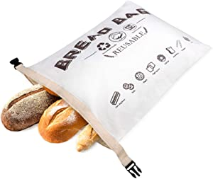 Wantusee Reusable Bread Bags for Homemade Bread, Eco Friendly Linen Bread Storage Containers for Bakery Large Bread Loaf, Sourdough and Food Storage, Gift for Bread Makers, Bakers