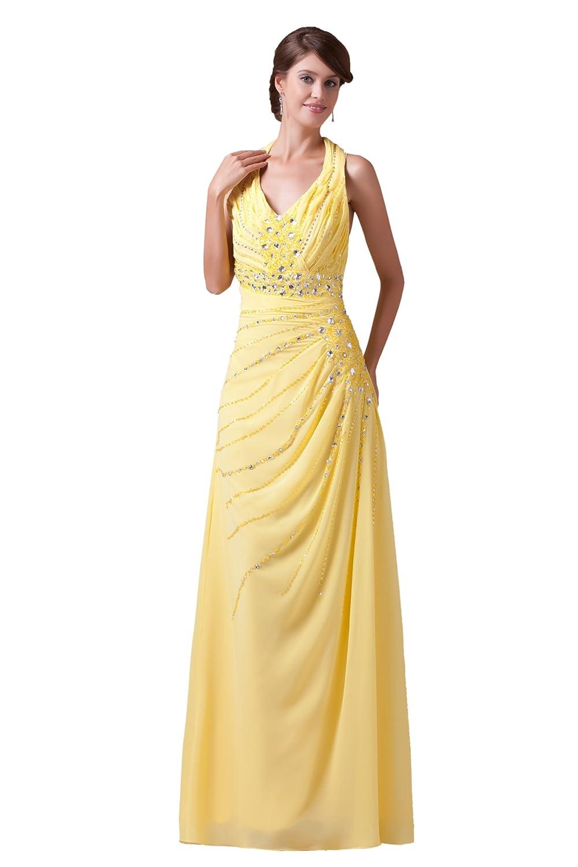 Dresstells Elegant Damen Kleid Bodenlang Chiffon Rückenfrei ...