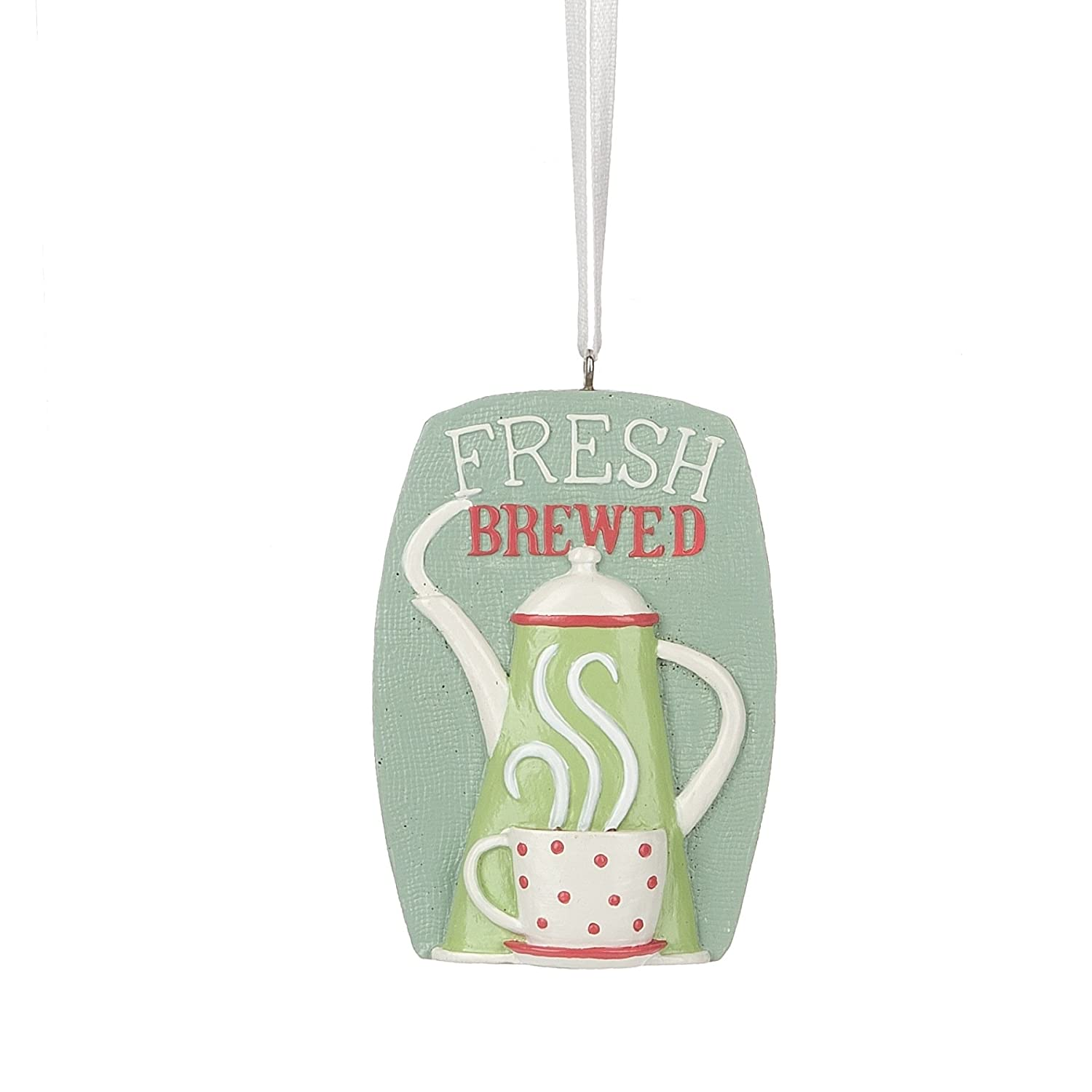 Midwest-CBK Forest Brewed Coffee Sign Resin Stone Christmas Ornament