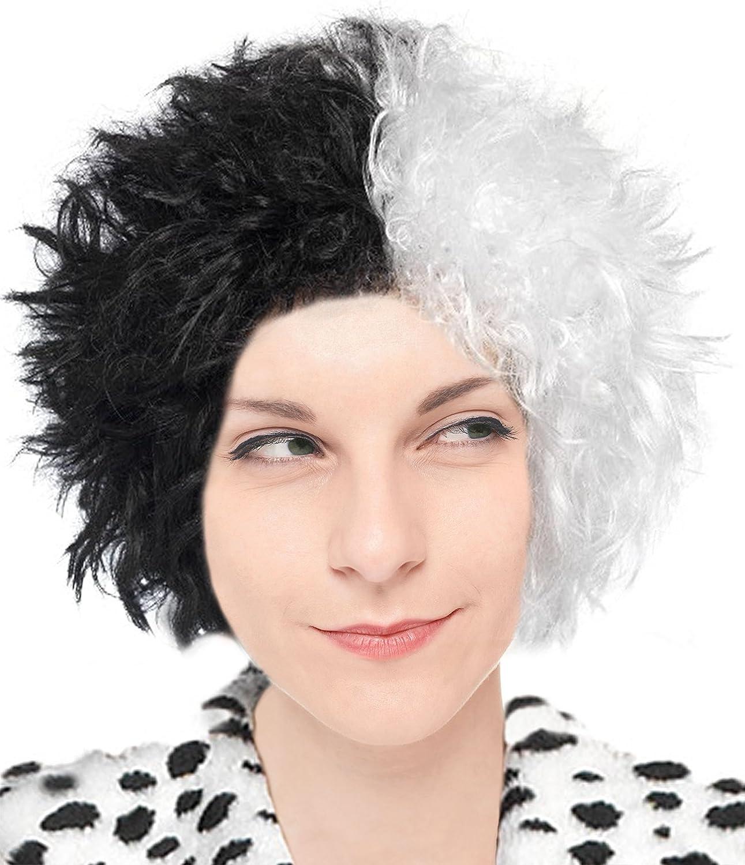 Ladies Cruella De Ville Book Week Hen Fancy Dress Costume Wig Accessories Lot