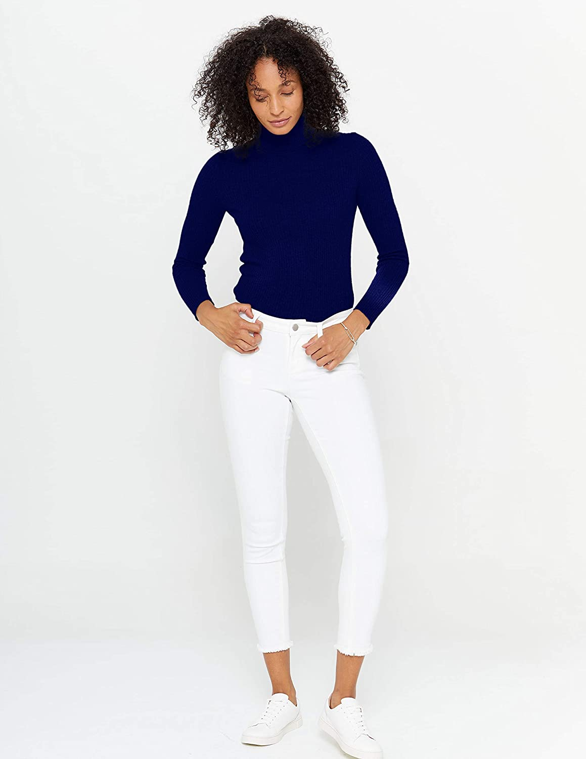 State Cashmere Ribbed Turtleneck Sweater 100/% Pure Cashmere Long Sleeve Pullover for Women