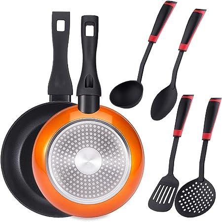 Bergner PK1928 Set 2 sartenes 20+24 cms, Aluminio Forjado, inducción, más Juego 4 Utensilios de Cocina, Nylon, Naranja: Amazon.es: Hogar