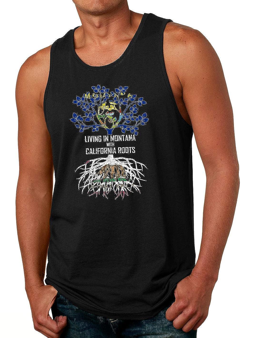 Tenacitee Mens Living in Montana with California Roots T-Shirt