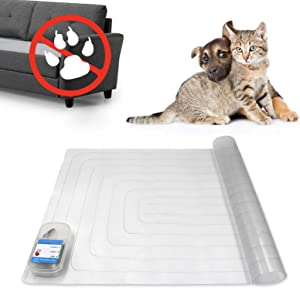 """Indoor Pet Scat Shock Mat, 30""""x16"""" Pet Training Mat for Dogs and Cats, Electronic Training Mat Keep Pets Off Furniture, Safe Dog Repellent Mat with 3 Training Modes, Sofa Couch Protector"""