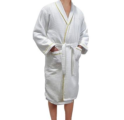 c3b69da010 Amazon.com  Radiant Saunas SA5120 European Spa and Bath White Waffle Weave Terry  Cloth Robe with Gold Embroidered Trim  Garden   Outdoor