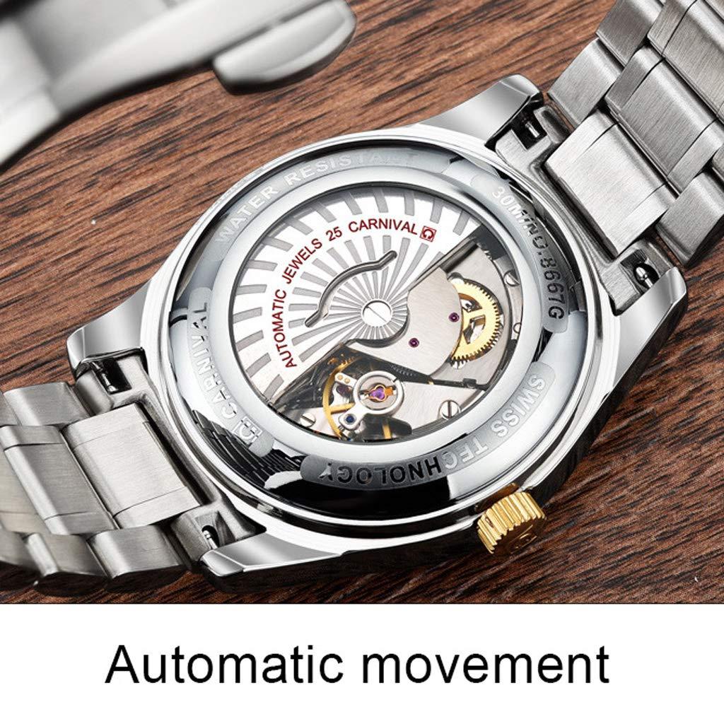 Vattentät automatisk mekanisk armbandsur, multifunktionskalender ledig enkel affärsklockor för män - flerfärgad Vitt