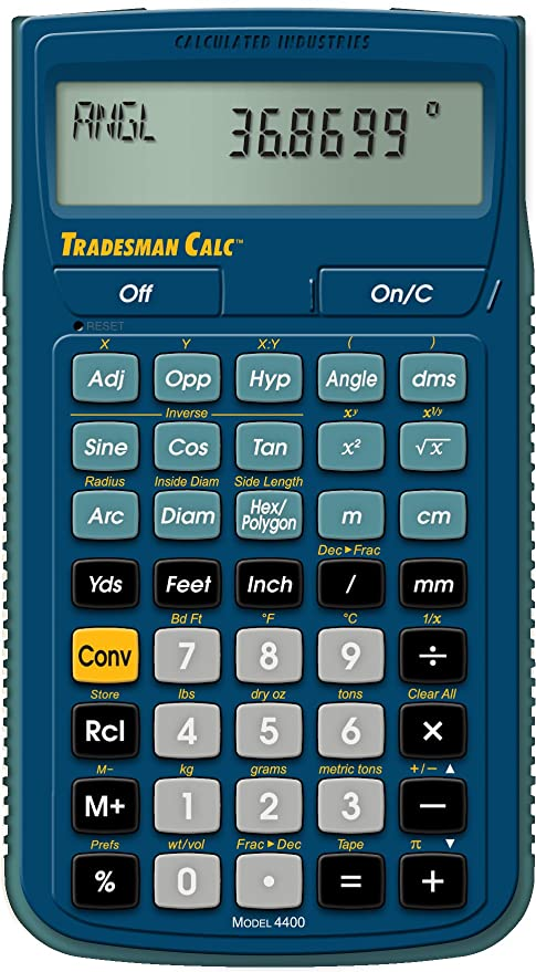 Amazon.com: Calculated Industries 4400 Tradesman Calc Trades Math ...
