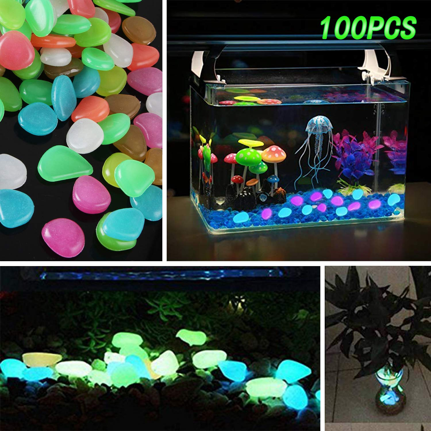 Sumyer Glow in the Dark Pebbles, Luminous Pebbles Glow Stones Artificial Colored for Aquarium, Fish Tank Landscaping Gravel Pebbles Decorations, Swimming Pool and Walkways, 100 Pcs
