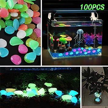 Sumyer Resplandor en los guijarros Oscuros, guijarros Luminosos Glow Stones Artificial Coloreado para el Acuario, Acuario Peces Decorativos, ...